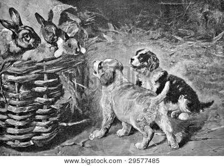 Puppies and hare. Engraving by Pene from picture by painter Lebling. Published in magazine