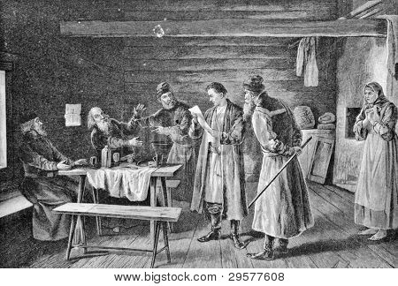 Gregory Otrepyev reading the imperial edict. Engraving by Rashevsky from picture by painter Zemtsov . Published in magazine