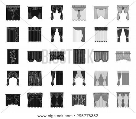 Different Kinds Of Curtains Black.mono Icons In Set Collection For Design. Curtains And Lambrequins