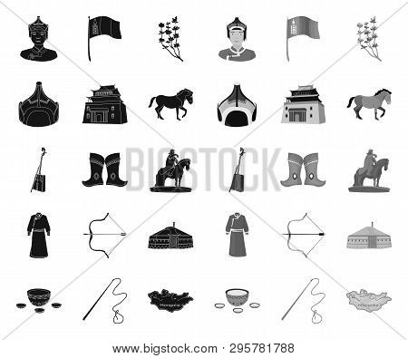 Country Mongolia Black.mono Icons In Set Collection For Design.territory And Landmark Vector Symbol