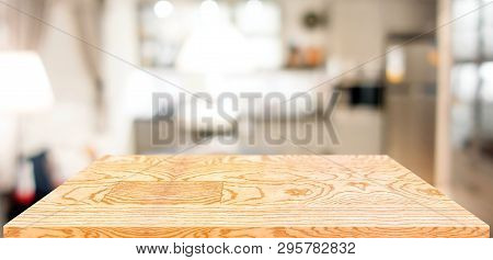 Perspective Wood Table Counter In Kitchen.empty Wooden Tabletop With Blurred Home Kitchen Background