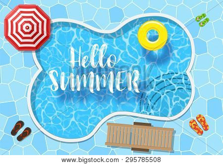 Water Pool Summer Background With Yellow Pool Float Ring. Colorful Vector Poster Template For Summer