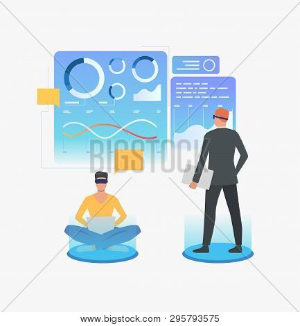 People Wearing Virtual Reality Glasses And Working In Vr Interface. Future, Vr, Cyberspace Concept.