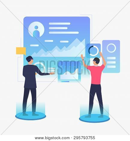 People Working On Futuristic Virtual Screens. Future, Vr, Cyberspace Concept. Vector Illustration Ca