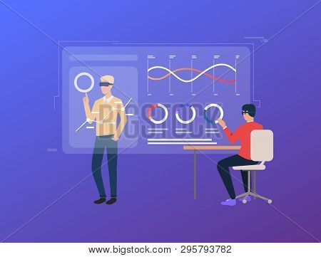 People Working On Virtual Screens With Financial Charts. Future, Graph, Cyberspace Concept. Vector I