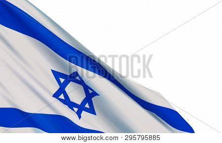 Background With Realistic Flag Of Israel On White Background. Vector Element For Independence Day, H