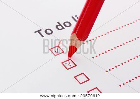 To do list with pencil closeup
