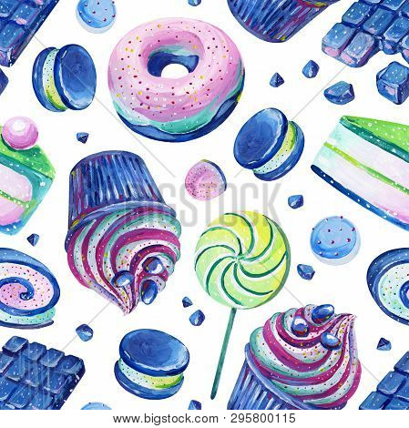 Set Consist Of Pink And Blue Bonbons, Lollipop, Piece Of Cake, Macaroon, Cupcake, Chokolate, Sweet R
