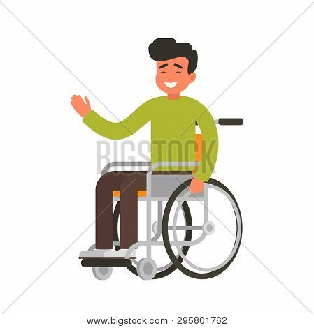 Young Happy Person Sits In A Wheelchair On A White Background. Smiling Male Character With Physical