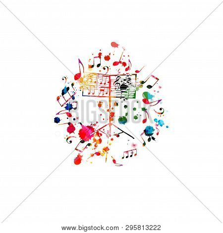 Colorful Music Stand With Music Notes Isolated Vector Illustration Design. Music Background. Music F