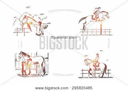 Hippodrome Races, Jockey On Horseback, Horseman In Saddle, Equine Show, Stallion In Barn Banner Temp
