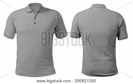Blank Collared Shirt Mock Up Template, Front And Back View, Isolated On White, Plain Gray T-shirt Mo