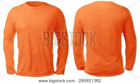 Blank Long Sleeved Shirt Mock Up Template, Front And Back View, Isolated On White, Plain Orange T-sh