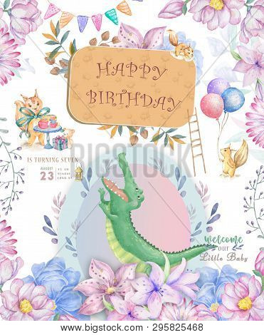 Happy Birthday Card With Cute Croc Dandy Watercolor Animal. Cute Baby Greeting Card. Boho Flowers An