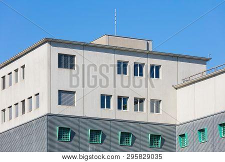Kloten, Switzerland - September 30, 2016: Upper Part Of The Building Of The Zurich Airport Prison. T