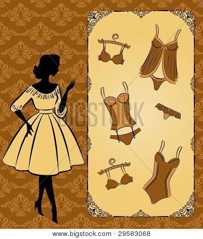 Vintage corset and lingerie with a beautiful ornament in the background. Vector
