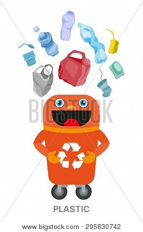 Waste Sorting And Recycling Concept. Color Ilustration.