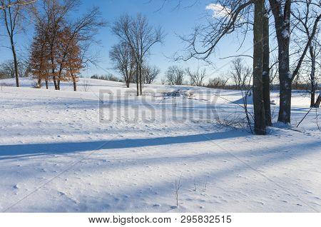 Snowy Landscape Atop Bluffs Of Battle Creek Regional Park In Saint Paul Minnesota