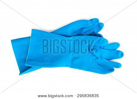 Blue Rubber Gloves For Cleaning On White Background, Workhouse Concept