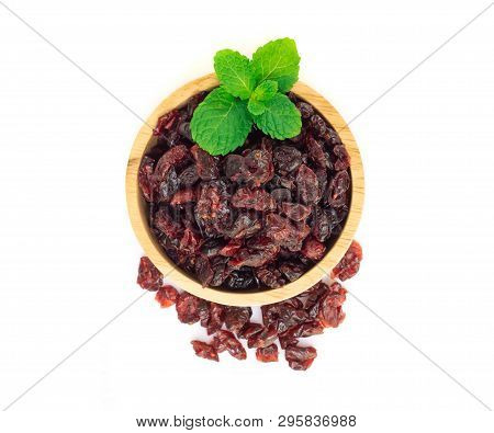 Dried Canberry Mix Blueberry Fruit In Wood Bowl Isolated On White Backgroud, Food Healty Diet