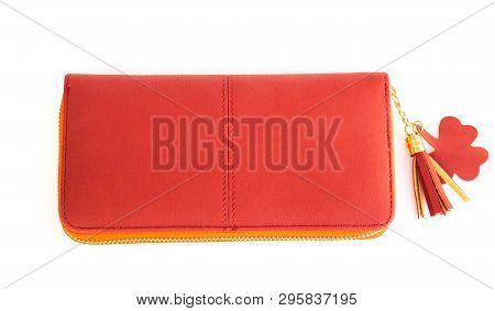 Closeup Modern Red Woman Wallet Fashion On White Background