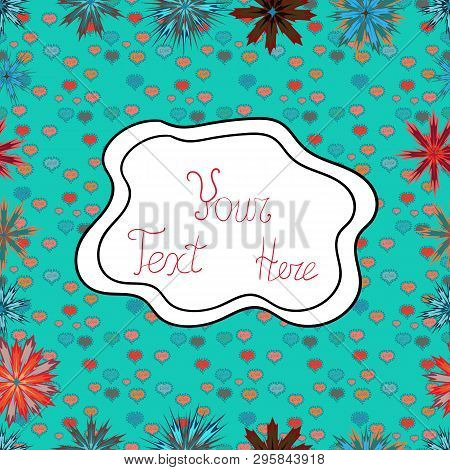 Pictures On A White, Red And Blue Colors Vector Illustration. Seamless Pattern Elegant Decorative Or