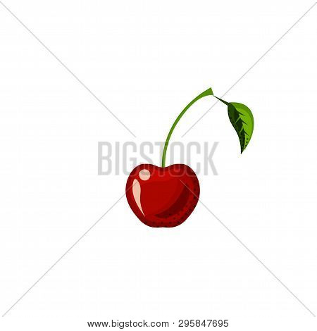 Fresh Juicy Fruit, Berry - Cherry Vector Icon Isolated On White Background. Cherry Icon, Flat Style,