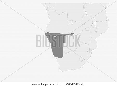 Map Of Africa With Highlighted Namibia Map, Gray Map Of Namibia With Neighboring Countries