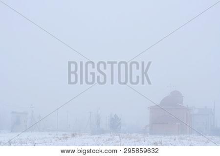 Foggy Landscape Of Village. Gray Background. Buildings- Church