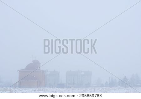 Foggy Landscape Of Village. Gray Blurred Background. Lot Place For Text Layout