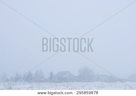 Foggy Landscape Of Village. Gray Background. Spring Or Fall Time Season