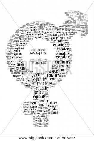Gender Equality sign in word collage