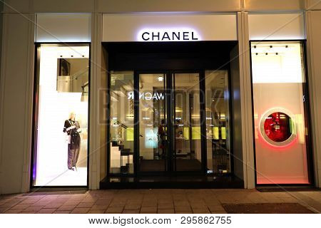 Vienna, Austria - January 8, 2019: Night View Of  Chanel Store In Vienna, Austria