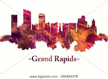 Red Skyline Of Grand Rapids, A Michigan City On The Grand River, East Of Lake Michigan
