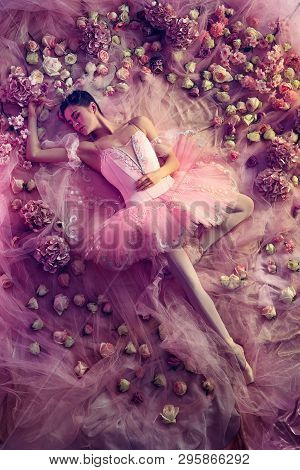 Graceful Youth. Top View Of Beautiful Young Woman In Pink Ballet Tutu Surrounded By Flowers. Spring