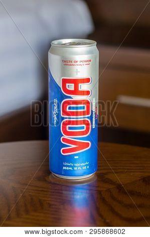 Aqaba, Jordan - February 8, 2019: Can Of Voda Energy Drink.