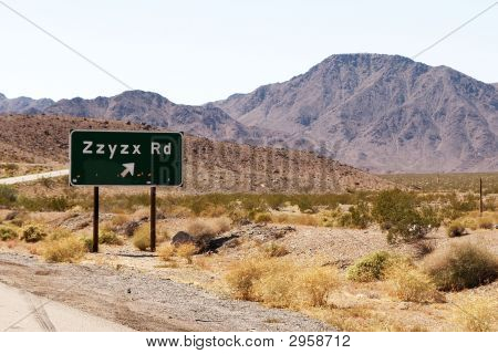 Zzyzx Exit Road Sign