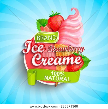 Strawberry Ice Cream Logo On Sunburst Background With Berries And Sundae In Cone In Cartoon Style Fo