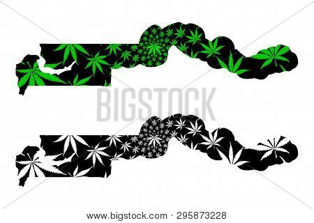 Gambia - Map Is Designed Cannabis Leaf Green And Black, Republic Of The Gambia Map Made Of Marijuana