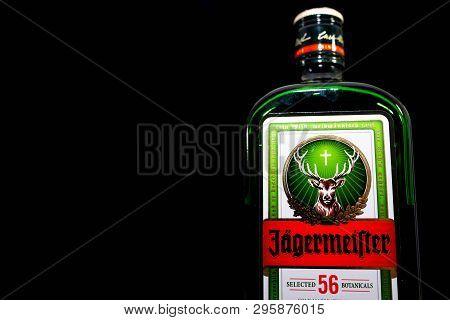Miercurea Ciuc, Romania- 17 April 2019: Bottle Of  Jagermeister On Black Background.