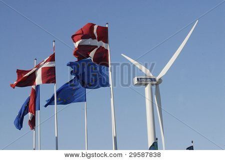 DENMARK / COPENHAGEN _ Danish wind turbines industry Vestas turbine danish flag and european union flags at bella Center 2 Febuary 2012