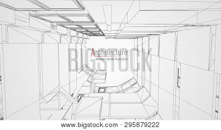 Modern Architecture Wireframe. Concept Of Urban Wireframe. Wireframe Building Illustration Of Archit