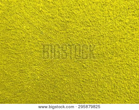 Texture Of Yellow Terry Fabric Close Up