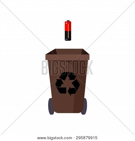 Brown Trashcan And Battery. Refuse Container With Recycling Sign And Wheels. Garbage Concept. Vector