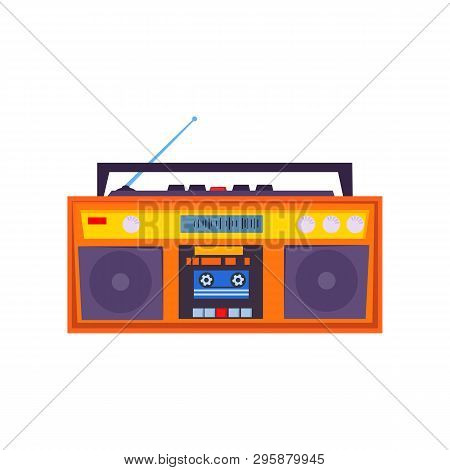 Cassette Tape Recorder. Vintage Device With Radio Receiver, Antenna, Handle And Stereo Speakers. Vec