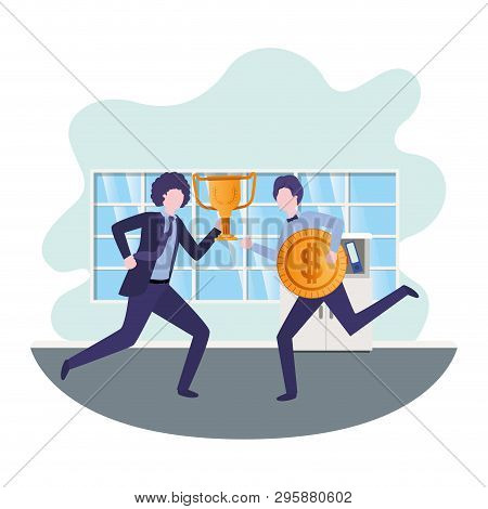 Businessmen With Trophy And Coin In Living Room Vector Illustration Desing