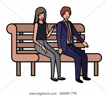 Couple Of Business Sitting In Park Chair Avatar Character Vector Illustration Desing