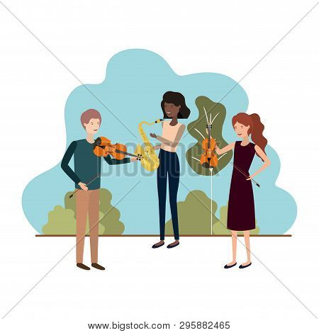 Group Of People With Musical Instruments In Landscape Vector Illustration Design