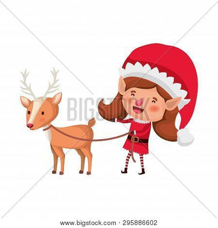 Elves Woman With Reindeer Avatar Character Vector Illustration Design
