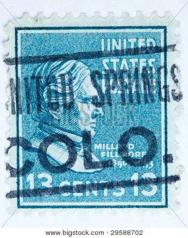 President Millard Fillmore with a post mark from Manatou Springs Colorado. United States - circa 193